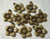 10 Bronze Flower Charms 16mm x 16mm