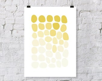 Yellow Ombre Stones, Pebbles, Rocks, Pattern – Nursery Art Print Decor [DIGITAL FILE]