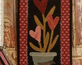 Primitive Folk Art Wool Applique Pattern - Basin Banners Thru the Year - February Heart Flowers