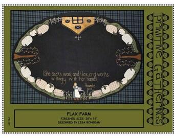 Primitive Folk Art Wool Applique Pattern-Flax Farm Table Mat-Proverbs 31:13