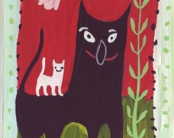 Cat Art Painting - Black and White - Whimsical Funny Red n Mint Green Outsider Folk Artwork Cat Decor 5x7