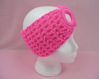 CROCHET HEADBAND Bright Hot Pink Ear Warmer Teens Womens Girls Adult Cowl Scarf