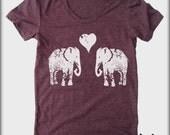 Elephants in Love American Apparel tee tshirt shirt Heathered vintage style screenprint ladies scoop top