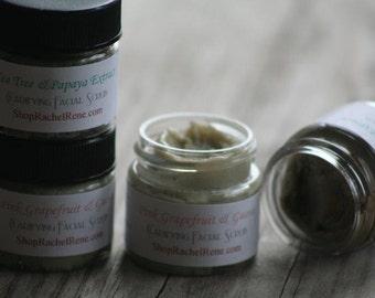 All Natural Clarifying Facial Scrub Sample Set - With Kaolin Clay, Grapeseed Oil, Vitamin E