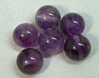 VINTAGE AMETHYST Beads  Purple A/B Grade 8mm pkg6 rb67