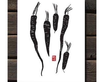 "Carrots 11""x14"" Letterpress Art Print"