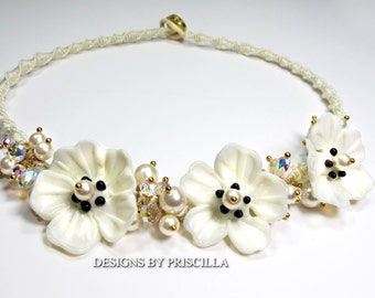 macrame necklace lamp work flowers macrame jewelry lamp work necklace flower necklace flower jewelry ivory poppy flowers statement necklace