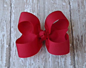 Red Toddler Hair Bow 3 Inch Alligator Clip Baby Hairbow Red Baby Hair Bow Red Baby Hair Bow