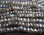 Mystic Blue FIre Light Labradorite faceted rondelle stone beads - 4mm X 2mm - 12 1/2 inch strand