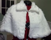 Ivory/Ivory Pelt Faux Fur Capelet/Cape Fully Lined/Cover Up with Rhinestone Closure/Formal-Wedding/Bridal