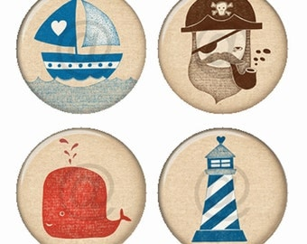 Nautical Collection Ship Pirate Lighthouse Whale Magnets or Pinback Buttons or Flatback Medallions Set of 4