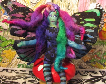 Funky Fairy with black striped stockings Soft sculpture Cute Art Doll Made By Tessimal