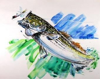 ORIGINAL Watercolor Painting Striped Bass Extra Large 22X28 New England Rhode Island Massachusetts Coastal Beach Decor Art  by Barry Singer