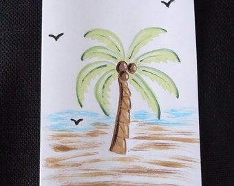 Hand painted card, PALM TREE card, painted cards, greeting cards, note cards, beach cards, blank cards, free shipping