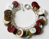 Button Bracelet Mistletoe and Wine Burgundy Moss Green Pearly White