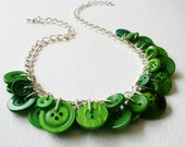 Button Necklace Emerald Green