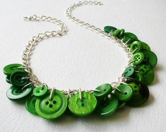 Button Necklace Emerald Green