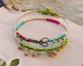 Hair Stylist Scissor Bangle Bracelet - Bohemian Gypsy Two piece Set