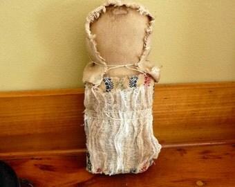 Primitive prairie doll prim raggedy tuck bowl filler ornie church stump doll