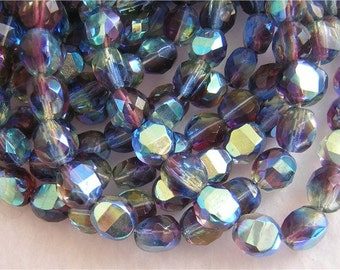 New 18 Faceted Czech Glass BRIDGE Beads WATERCOLOR AB 8x8x5mm