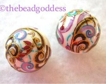 Beautiful JAPANESE TENSHA Beads Purple Aqua Paisley White 12mm Variations 2-5-9