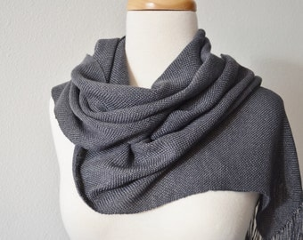 Handwoven BAMBOO Scarf for Women. Scarf with Tiny Bells. Women's Spring Accessories, Made to Order, Custom Color, Graphite Grey. Soft, Sleek