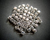 Reserved for Diana - Set of 60 Clear 4mm Swarovski Chaton Montees, 53200 Sew On Rhinestones, PP31 (3.9mm), SS16, Silver Plated Settings