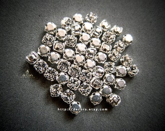Set of 12 Clear 4mm Swarovski Chaton Montees, 53200 Sew On Rhinestones, PP31 (3.9mm), SS16, Silver Plated Settings, Swarovski Sew On Chatons