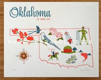 Oklahoma State Letterpress Print 8x10