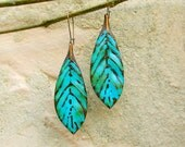 turquoise boho earrings leaf earrings feather dangle bohemian earrings Bohemian jewelry