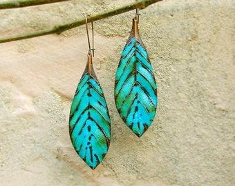 turquoise boho earrings leaf earrings feather dangle bohemian earrings Bohemian jewelry