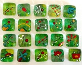 DooDles Glass Gems - Greens - Hand Painted Mosaic Tiles