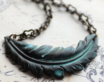 Fall Woodland Leaf Necklace, Rustic Green Patina Necklace, Boho Necklace, Layering Necklace, Green Feather Necklace, Verdigris Leaf Jewelry