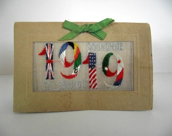 1919 Souvenir FRANCE Greeting Card with Embroidered Fabric Insert