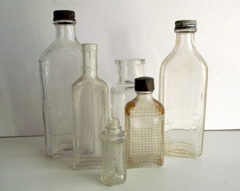 Antique Bottle Collection LOT of 7 Perfume Apothecary Medicine