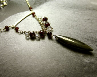 Garnet Crystal and Pyrite Necklace