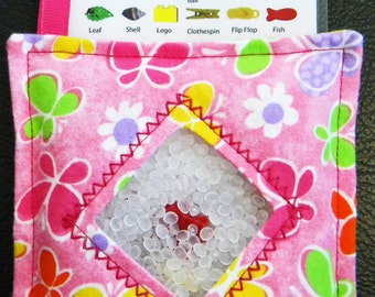 I Spy Bag - Mini with SEWN Word List and Detachable PICTURE LIST- Colorful Butterflies