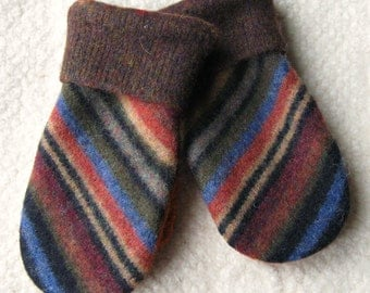 Upcycled Mittens for Kids, Felted Sweater Wool Mittens in Earthtone Stripes