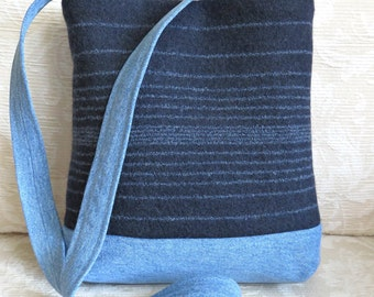 JAMES Shoulder Bag in Navy Blue Merino Wool and Denim, Eco Friendly Upcycled Purse