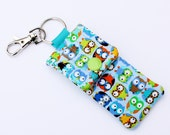 Keyring pouch Essential Oil carrier key fob owl fabric