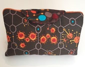 Essential oil case holds 8 oil carry bag Brown and orange fabric