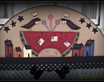 Primitive Americana Wood Plaque Watermelon Crow Summer Door Crown/Topper Home Decor