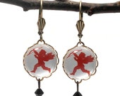 Red Cupid Round Dangle Earrings Valentine or Any Time