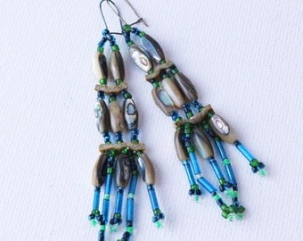 Wrap Earings beads Boho Gypsy dangle native american abalone