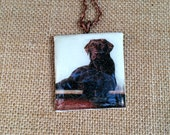 Custom Pet Portrait Necklace made from your photo transferred on polymer clay and sealed with resin