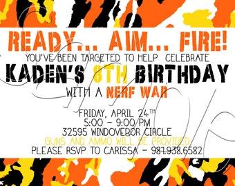 Custom Printable Camo Dart Gun Birthday Invitation