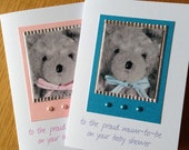 Vintage Teddy Baby Shower Card - Pink or Blue - can be personalised
