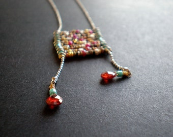 Boho Ladder Necklace - Bohemian Chic - Textured Mixed Metal Beads - Colorful Hippie Necklace - Dorijenn - Red Teardrop Necklace - Gift Teen