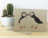 two puffins, 100% recycled card.