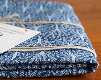 Organic Baby Blanket in SASHIKO TREES, Indigo Blue Tree Organic Baby Blanket Gift, Receiving Blanket by Organic Quilt Company